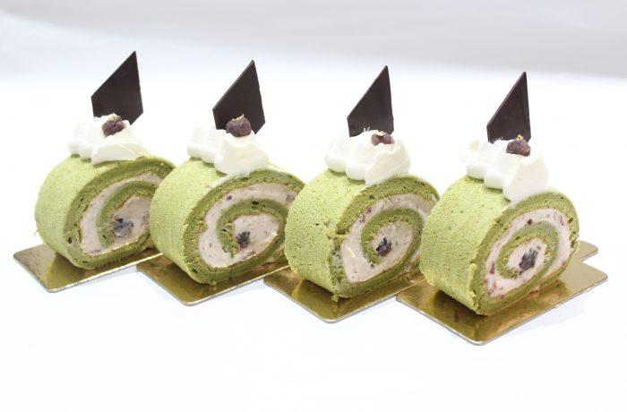 抹茶と小豆の<br>ロールケーキ